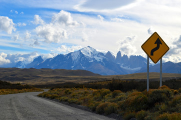 road sign in Torres del Paine