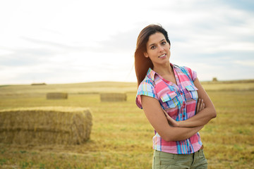 Female farmer in country field