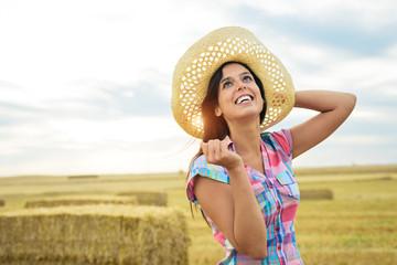 Female happy farmer success