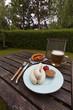 Bayerische Weißwurst auf einem Teller