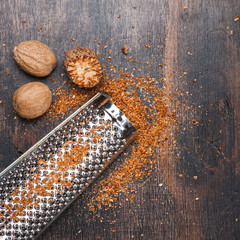 Nutmegs and grater for nuts