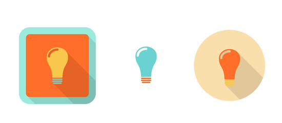 three colorful icons in flat style - lightbulb