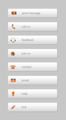 simple gray internet buttons with orange-gray icons