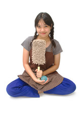a cute asian girl is dressed as a cleaning maid, holding soft du