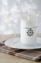Christmas candle with snowflake