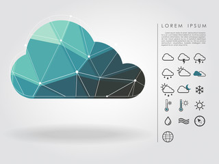 polygon cloud with weather icon