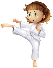 A young girl showing her karate moves