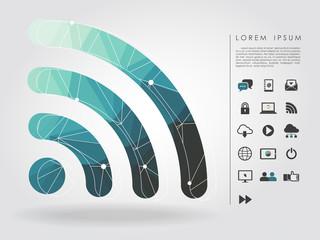 polygon wifi symbol with communication icon