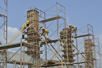 Construction workers fabricated column formwork