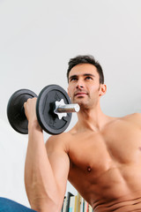 Young Man Doing Weights