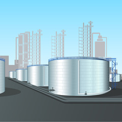 refinery vertical steel tank farm with pipeline