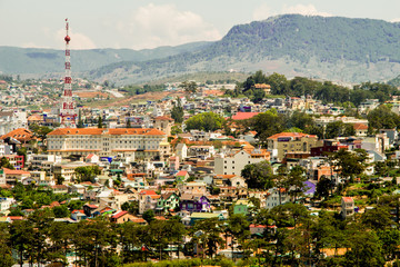 top view in dalat city vietnam