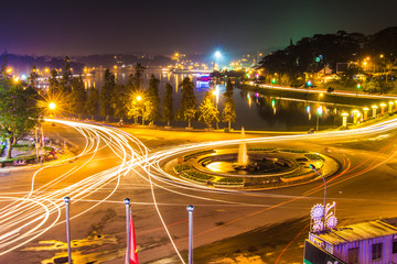 city night light, dalat city vietnam
