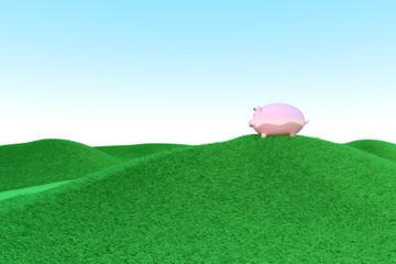 Sparschwein auf grünem Hügel