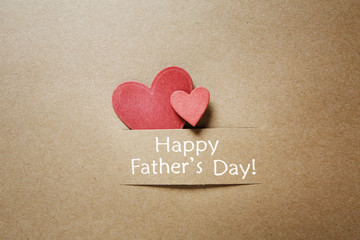Fathers day message with red hearts