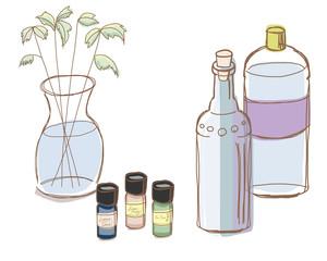 アロマオイルと精製水、グリーン