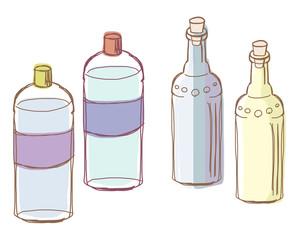 瓶と手作り化粧水ボトル