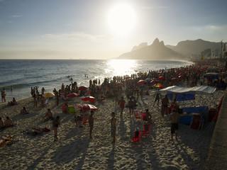 Ipanema Beach Rio de Janeiro Brazil Sunset Crowd