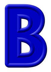 Mavi renkli oyuntulu b harfi