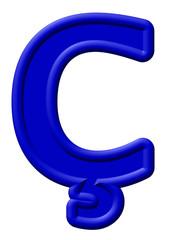 Mavi renkli oyuntulu ç harfi