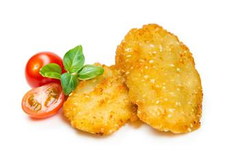 Chicken nuggets, breaded with sesame seeds