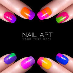 Colorful Fluor Nail Polish. Art Nail with example text