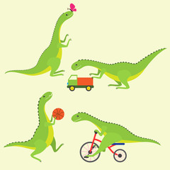 Playing dinosaur kids. Vector set.