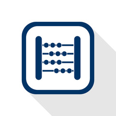 square blue icon abacus with long shadow