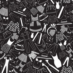 Pattern with ladies wear in black-and-white palette