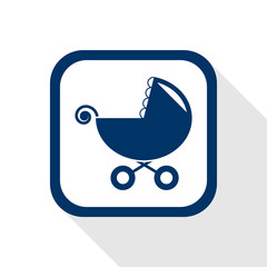 square blue icon stroller with long shadow