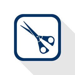 square blue icon scissors with long shadow