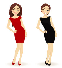 Set of women in red and black dresses