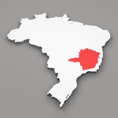 Mappa Brasile, divisione regioni Minas Gerais