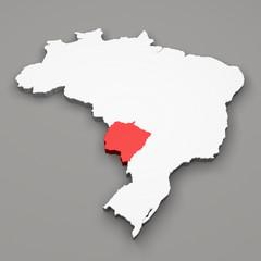 Mappa Brasile, divisione regioni Mato Grosso do Sul