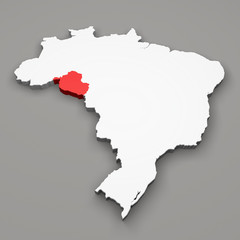 Mappa Brasile, divisione regioni Rondonia