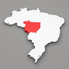 Mappa Brasile, divisione regioni Mato Grosso