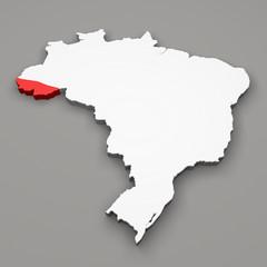 Mappa Brasile, divisione regioni Acre