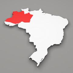 Mappa Brasile, divisione regioni Amazonas