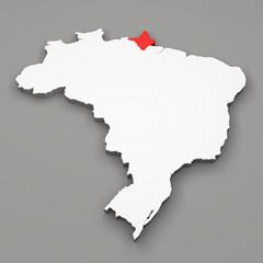 Mappa Brasile, divisione regioni Amapa