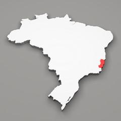 Mappa Brasile, divisione regioni, Espirito Santo