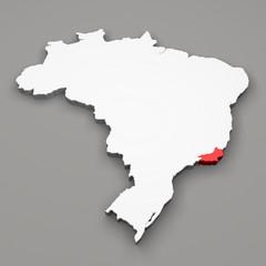Mappa Brasile, divisione regioni, Rio de Janeiro