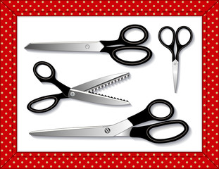 Scissors: Embroidery, Sewing, Pinking, reposition blades in EPS8