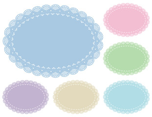 Lace Doily Place Mats, Pastels, antique vintage oval pattern