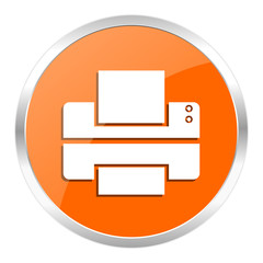 printer orange glossy icon