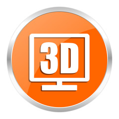 3d display orange glossy icon