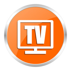 tv orange glossy icon