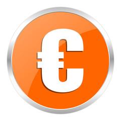 euro orange glossy icon