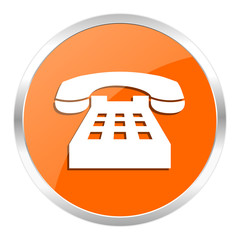 phone orange glossy icon