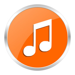 music orange glossy icon