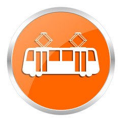 tram orange glossy icon
